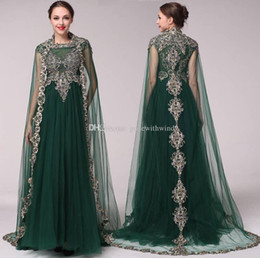 Wholesale Evening Dresses Chiffon Shawl - real photos dark green shawl Arabic evening dresses 2018 A-line heavily embroideried lace high neckline sweep train evening gowns