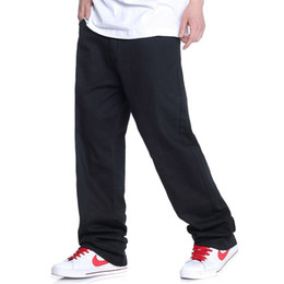 Wholesale Hip Ad - Wholesale- Men hiphop jeans black skateboard baggy style jeans hip hop men's and boy's ad dance pants full length big size 30-46