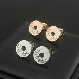 Wholesale Logo Fashion Earrings - 316L Titanium steel Stud with brand logo and name women Fashion brand stud Earrings in 1.1cm jewelery wedding gifts free shipping PS5642