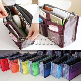 Wholesale Purse Inserts - Free DHL Women Travel Makeup Nylon Cosmetic Bag Insert Handbag Purse Zipper Case Organizer Bag in Bag