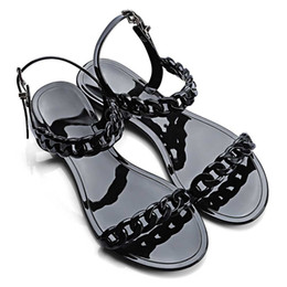 Wholesale Tie Shoes Style - Wholesale-2016 New Europe Causal Style Women Plastic Chain Beach Shoes Candy Solid Color Jelly Sandals Chain Flat Bottomed Out Sandals