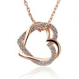 Wholesale Around Love Pendant - Korean fashion double heart wrapped around the love necklace women's hollow peach heart pendant