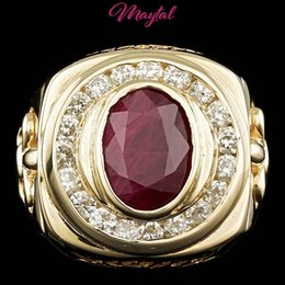 Wholesale Green Ruby Ring - CERTIFIED 14K YELLOW GOLD 7CT UNTREATED RUBY 2.10CT DIAMOND MENS RING