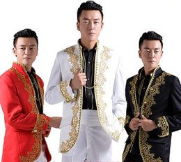 Wholesale wedding suit for chinese men - Wholesale-new Chinese wedding groom tuxedo suits gold embroidery applique white men white men suit men suits for wedding men gold suits