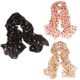 Wholesale Love Fashion Scarves - Wholesale- 2016 New Fashion Little Love Heart Printing Shawl Chiffon Scarf 3 Colors For Women Auturm Winter Bufandas Mujer Size 140*36CM