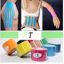 Wholesale Kinesio Tape Waterproof - Wholesale- 5mx5cm Waterproof Kinesio tape Athletic Kinesiology Tape Sport Taping Strapping Good Quality Football Knee Muscle Kinesio