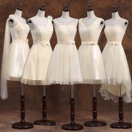 Wholesale One Shoulder Greek Wedding Dresses - greek style one shoulder short elegant champagne bridesmaid dress beautiful bridesmaids ball dresses wedding meet lady B3950