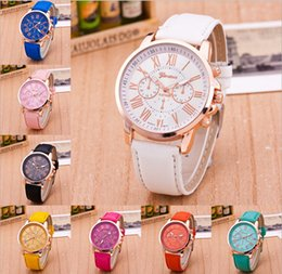 Wholesale Navy Blue Leather Belt - 2017 New Fashion Geneva watch Ladies Brand Leather Band Watch Quartz for Women watch waterproof Acc009