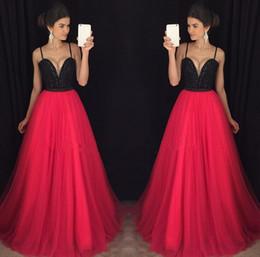 Wholesale Unique Long Evening Gowns - Cheap Unique Red Sweetheart Neck Tulle Long Prom Dresses Evening Party Gowns Vestido Floor Length Pageant Dress Plus Size 2017