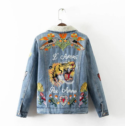 Wholesale Women Autumn winter Vintage Tiger Embroidered Denim Jacket Lapel Long Sleeve Single breasted Fashion Coat Velvet Female Clip