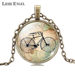 Wholesale Bicycle Jewelry Women - Wholesale-Vintage Bicycle & Map Glass Cabochon Necklace Fashion Bronze Silver Color Jewelry Glass Statement Chain Necklace for Women