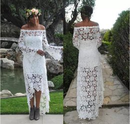 Wholesale Wedding Dresses Embroidered Shoulders - Off the Shoulder Embroidered Lace Bohemian Sheath Wedding Dresses High Low Long Sleeves Wedding Dress with Subtle Bell Sleeves Bridal Dress