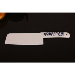 Wholesale Ceramic Chinese Flowers - chef ceramic knife sharp kitchen knife fine quality blue flower handle white blade ceramic cooking knife and peeler