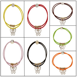 Wholesale Wholesale Pony Charm - 2017 New Promotion Trendy Vintage LOVE BEAR BUTTERFLY charm hair rubber bands Pretty children Girls women Metal pony tail hair band
