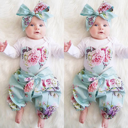 Wholesale New Kid Headband - New Baby Girls 3PCS Rompers Suits 2017 Autumn Toddler Girls Long Sleeve Love Printed Jumpersuit+Floral Pants+Headband Kids Pretty Clothing
