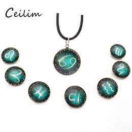 Wholesale Wholesale Zodiac Necklaces - Hot selling 12 constellations statement necklace for men women different style zodiac pendant long leather necklace hip hop jewelry new