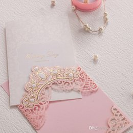Wholesale Gold Embossed Wedding Invitations - Elegant Pink Wedding Invitations Cards Gold Embossed Wedding Day Flora Design Invitations for Bridal Shower Free Printing CW6072