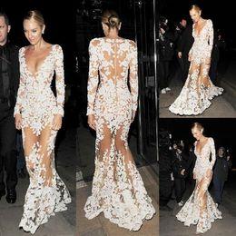 Zuhair Murad Venta caliente sirena vestidos de baile apliques Sheer Deep V cuello ilusión manga larga Sexy Prom Vestidos de la alfombra roja Vestido de noche desde fabricantes
