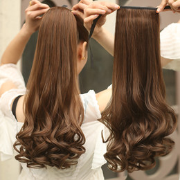 Wholesale Pony Wave - Wholesale-Fake Hair Ponytails Curly Synthetic Pony Tail Heat Resistant Long Wavy Brown Blonde Clip Hair Extension For Women PonyTail