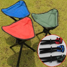 Кемпинг стул штатив онлайн-Wholesale- New Portable Camping Hiking Folding Foldable Stool Tripod Chair Seat For Fishing Festival Picnic BBQ Beach random color