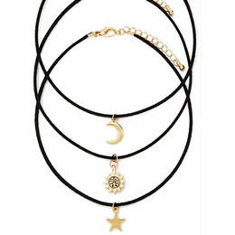 Wholesale Celtic Moon Pendant - Wholesale-New fashion jewelry leather moon star sun choker necklace set 1set =3pieces gift for women girl N1778