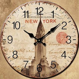 Wholesale Wooden Clock Puzzle - Eiffel Tower Decoration Wall Clock Vintage Rustic French Country Style Puzzle Pattern Wooden Round Decorative Wall Clock