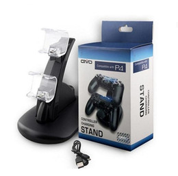 Wholesale Playstation Charging Dock - For Xbox One Playstation LED Dual USB Charger Dock Mount Charging Stand Holder For Wireless PS4 XBOX ONE Gamepad Game Controllers With Pack