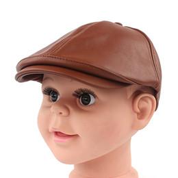 Wholesale wholesale cotton beret hats - Wholesale-Kids pu leahter Cool Cabbie Newsboy Gatsby Hat children Beret Cap
