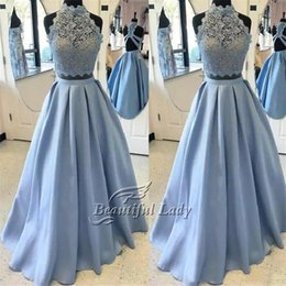 Wholesale Short Occasion Dresses Women - 2 Pieces Prom Dresses Light Blue Lace Top Satin Skirt High Neck A Line Long Prom Dress 2017 Women Formal Occasion Gowns