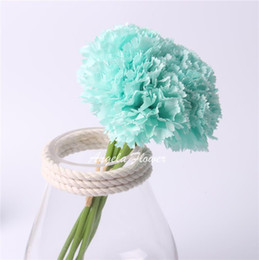 Wholesale Wholesale Silk Carnations Heads - Wholesale-Cute 1 bouquet 6 heads carnation Artificial flower silk flower decoration flower for wedding home  monther's day