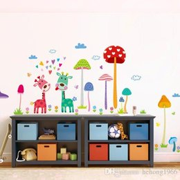 Wholesale Funny Nature - Wall Sticker Pastoral Style Cute Mushroom Giraffe Cartoon Funny Decal For Kid Room Nursery School Creative Mural Home Decor 2 8ch F R