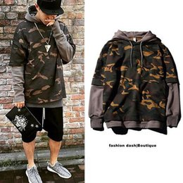 Wholesale Grey Men Long Coat - Camouflage Hip-Hop Hoodie Skateboard Sweatshirt For Men Pullover Sudadera Hombre Lovers Coat Grey Black Khaki Size S-2XL Free Shipping