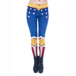 Wholesale Girls Star Leggings - Lady Leggings American Woman 3D Graphic Print Girl Skinny Stretchy Star Pants Blue Gold Red White Casual Yoga Gym Fitness Trousers (J43846)