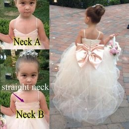 Wholesale Soft Tulle Gowns - Flower Girls Dresses for Weddings Girls Pageant Gowns Formal Wear Puff Soft Tulle White Ivory Champagne Kids Princess girl Dress Crystal Bow