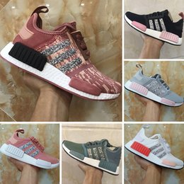 Wholesale Womens Sequin Shoes - 2017 Boost NMD R1 Runner Sequins Womens Knitting Running Shoes Runner NMD R1 PK Boost Sequins Knitting Casual Sneakers