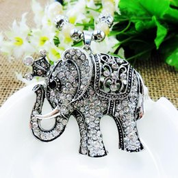 Wholesale Stainless Steel Elephant Antique - Jewelry Charming Crystal Fine Jewelry Vintage Punk Antique Elephant beads Necklace & Pendant Statement Necklace 2016