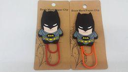 Wholesale Mark Batman - BONTOYSHOP Wholesales 2psc set Batman PVC Bookmarks Creative Metal Bookmark Stationery Mark Office Teacher Gifts Children School Supplies