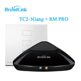2017 home light kit Venta al por mayor-Hotsale Smart Home del kit Broadlink RM2 RM PRO Controlador casero elegante + Broadlink TC2 3gang, interruptor elegante del tacto de la luz de la pared, control de WiFi rebajas home light kit