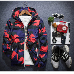 Wholesale 3xl Camo Jacket - Mens Summer Camo Windbreaker Pullover Jacket Thin Male Camouflage Windbreaker Coats Korea Style Spring Men's Hooded Windbreaker