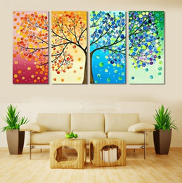 Wholesale Piece Tree Canvas Wall Art - 4 Piece Colourful Leaf Trees Canvas Painting Wall Art Spray Wall Painting Home Decor For Living Room Modular Picture