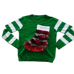 Wholesale Batwing Sweater Knitting Pattern - Wholesale-New-arriving Green Ugly Christmas Sweaters for Women party Claus sock Patterns Pullovers S-XL