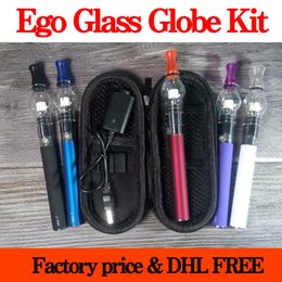 Wholesale Ego Globe Kit - Glass Globe Bulb Atomizer With Ego T Battery E Cigarette Zipper Case Ego Wax Dry Herb Vaporizer Pen Starter Kit Electronic Cigarette DHL