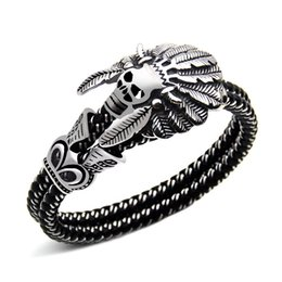 Wholesale Skull Alloy Charms - 2017 new Wholesale Fashion Jewelry Double leather Bracelet Casual Personality Rock Punk Titanium steel Skull Bracelet for men Free shipping