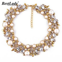 Wholesale Vintage Jewlry - Best lady New Good Quality za Brand Simulated Pearl Statement Luxury Vintage Necklace Women Collar Choker Jewlry Gifts 9593