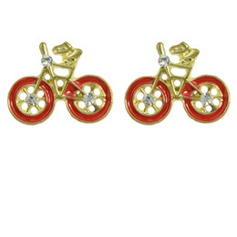 Wholesale Coloured Earrings - Bicycle Shape Earring Red Black Enamel Gold Plated Colour Stud Earring Bijoux Brand Brincos Femininos For Women