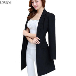 Wholesale Thin Blazers For Women - Korean Office Blazers For Women Plus Size New Autumn Black Long Temperament Thin Formal Blazers Long Sleeve leisure Suit jacket