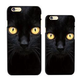 Wholesale Diy Plastic Phone Cases - Black Cat Animal Pattern Custom Hard Plastic Phone Case DIY Phone Cover for iPhone 6 6S 6Plus 7 7Plus Samsung Huawei