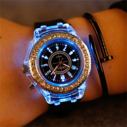 Wholesale Silicone Bracelet Light - Unisex Geneva diamond watch LED light crystal watches silicone jelly strap flash up backlight quartz watches for women men boys girls