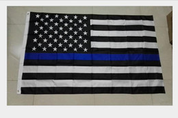 Usa латунь онлайн-Полиэстер флаги полиции США 3 * 5 футов Тонкая синяя линия флаг США черный белый и синий американский флаг с латунными люверсами флаги баннеров