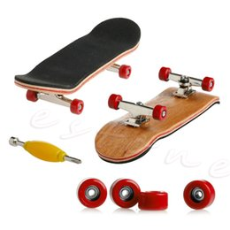 Wholesale Skateboard 12 Wheels - Professional Type Bearing Wheels Skid Pad Maple Wood Finger Skateboard Alloy Stent Bearing Wheel Fingerboard Novelty Toy Alloy Stand Finger